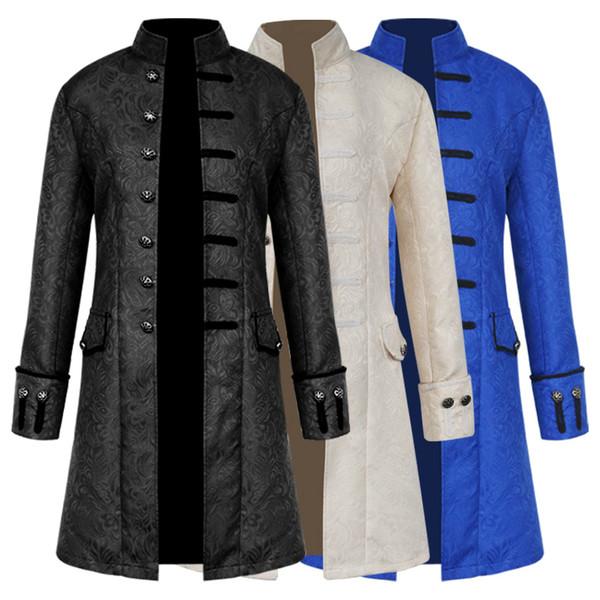 Großhandel Hot Fashion Retro Mittelalterliche Halloween Punk Herren Party Cosplay Renaissance Kostüm Stehkragen Langarm Mantel Mantel Jacke Von