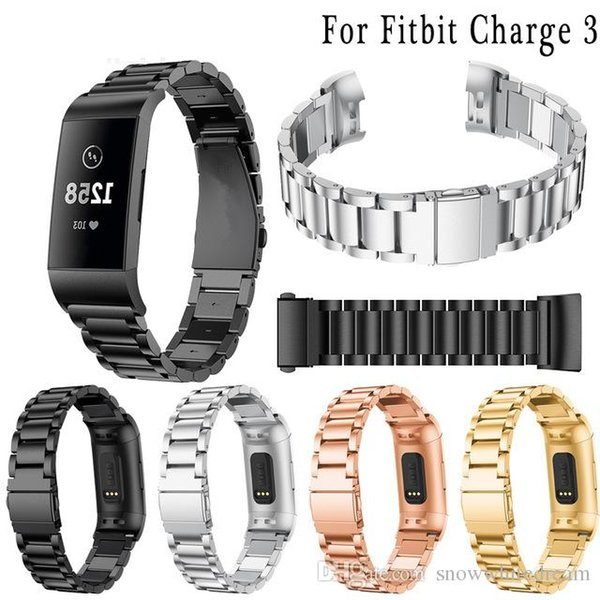 Fitbit Watch Band Stainless Steel Bracelet for Fitbit Charge 3 Smart Fitness Watch Strap(No Frame)