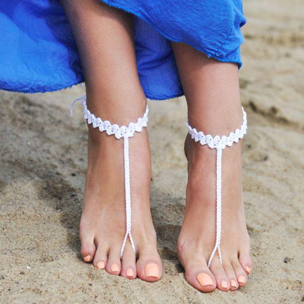 оптовые вязаные черные босоножки, сандалии для ног, подарок для подружки невесты, босоножки, пляжная обувь, ножные туфли, свадьба на пляже