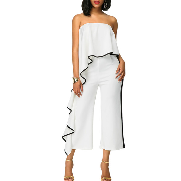 ad8c0b11b4d 2018 Summer women Overalls Jumpsuits Strapless Sleeveless Ruffles Lady Wide  Leg Outfit casual sexy fashion Bandage rompers 5134