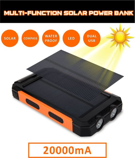 20000mAh Portable solar power bank Ultra-thin Powerbank backup Power Supply battery Power charger For Smart Phones