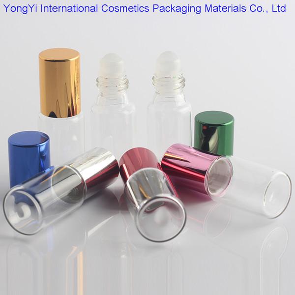 48pcs Klarglas Ätherisches Öl Rollerflaschen mit Glas Roller Balls Perfumes Lippenbalsam Roll On Flaschen 5ml 10ml