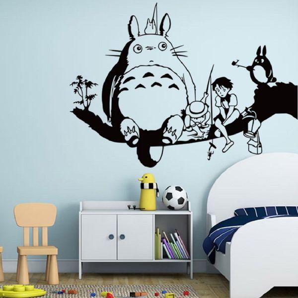 Compre Hayao Miyazaki Animación Ghibli Totoro Pegatinas De Pared Para Niños Sala De Dibujos Animados Mi Vecino Totoro Wallpaper Home Decor Wall Art