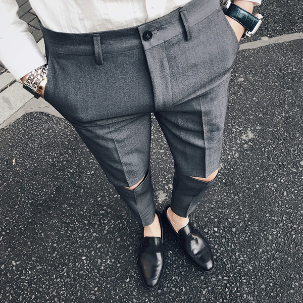 Ripped Solid Pant Slim Fit Men Dress Pant Office Trousers Men Pantalon Homme Slim Formal Broken Trousers For Man