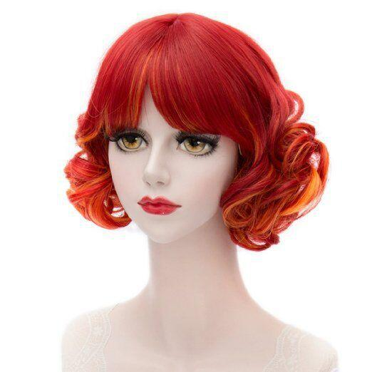 Hot Sale Cosplay wigs bob hair wig short curls hairpiece Anime cos costume party red mixed orange