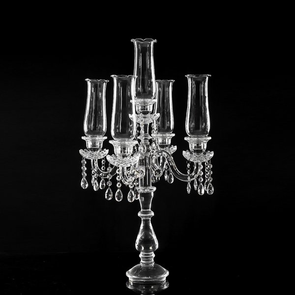 tall crystal glass candlestick candelabra for wedding decoration