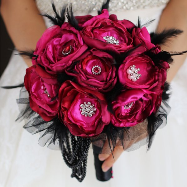 Nem Ruby Red Wedding Brooch Bouquet Handmade Fabrics Organza & Black Feather Bridal Bouquet Wine Red Rose Bridal Cloth Bouquets