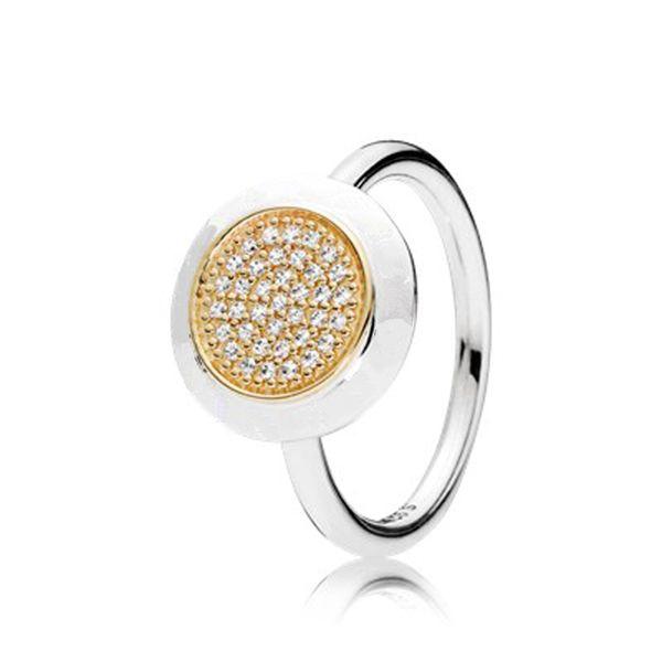 Anello di cristallo completa per le donne con il MARCHIO zircone Adatto Pandora Argento Oro Dimensione 6-9 Moda Festivel regali di compleanno R001