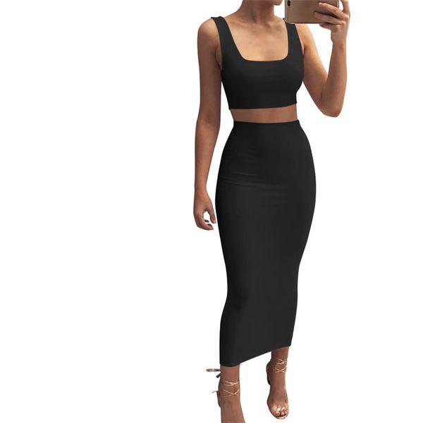 2018 Women Sexy Jumper Dress 2PC Stretchy Scoop Neck Bandage Backless Sleeveless Vest High Waist Slim Midi Skirt Set Party Two Piece Dress
