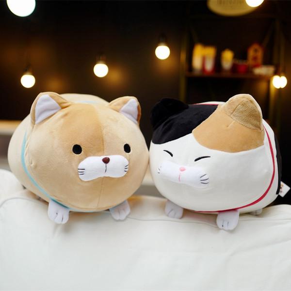 1pc 40 / 50cm Japón Amuse Fortune Cat Lucky Cats Peluche de peluche de juguete para niños Muñeca Barba Bendición Almohada de gato de dibujos animados de animales de juguete suave