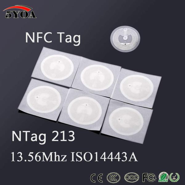 top popular 5YOA 100pcs Lot NFC TAG Sticker 13.56MHz ISO14443A NTAG213 Key Tags llaveros llavero Token Patrol Label RFID Tag Badge 2021