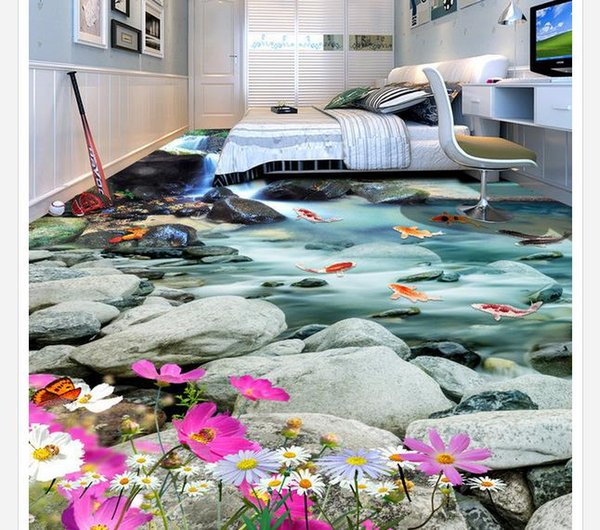 Custom Any Size Mural Wallpaper Deep mountain waterfall water 3D floor tile three-dimensional painting Living Room Wallpaper 3D Painting