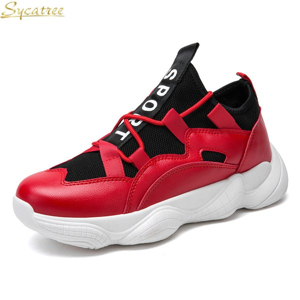 Sycatree New Male Running Shoes For Men Red White Gym Sneakers Hard-Wearing Trainers Sports Rubber Sole Athletic Footwear