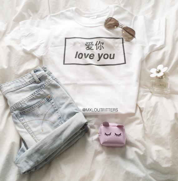 Women's Tee Love You Graphic Tees Funny T-shirt Tumblr Shirts Women Short Sleeve Hipster T Shirts Summer Tops Crewneck Soft Clothing
