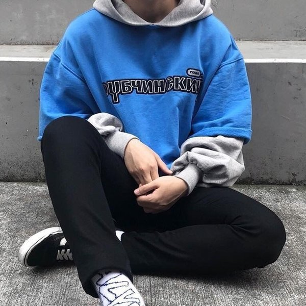 2019 Gosha Rubchinskiy Autumn Winter Hooded Pullover Fake Two Pieces Young Long Sleeve Sweatshirt Street Couple Sweater Hoodies HFYMWY161 From