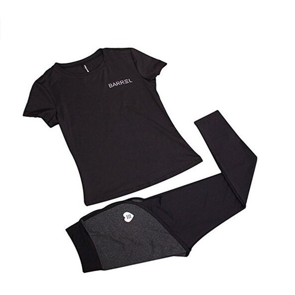 Women sport Gym suit Black letter short sleeved T-shirt with Two in one pants 2Pcs Yoga set