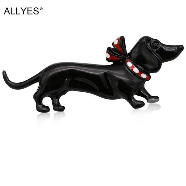 ALLYES Black Dog Broschen Für Frauen Schmuck Nette Mode Weibliche Kleidung Kostüm Kragen Hut Emaille Pin Tier Brosche