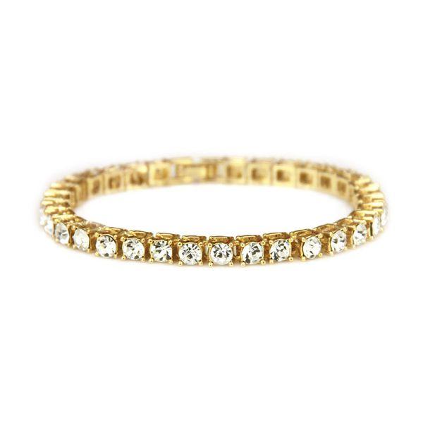 Hip hop Men Bracelet Silver/Gold Iced Out 1 Row Rhinestones Chain Bling Crystal Bracelet Women 20cm