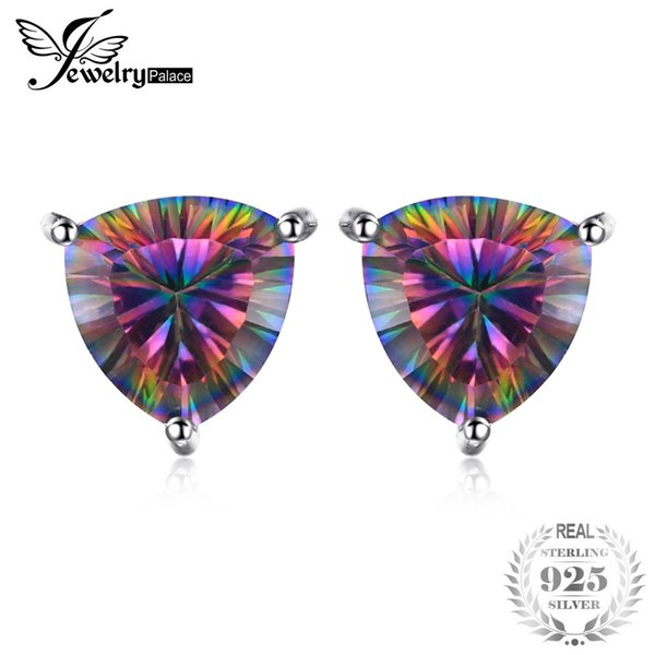 JewelryPalace Triangle 6.3ct Rainbow Fire Mystic Topaz Solid 925 Sterling Silver Stud Earrings For Women Fashion Vintage Jewelry S18101207