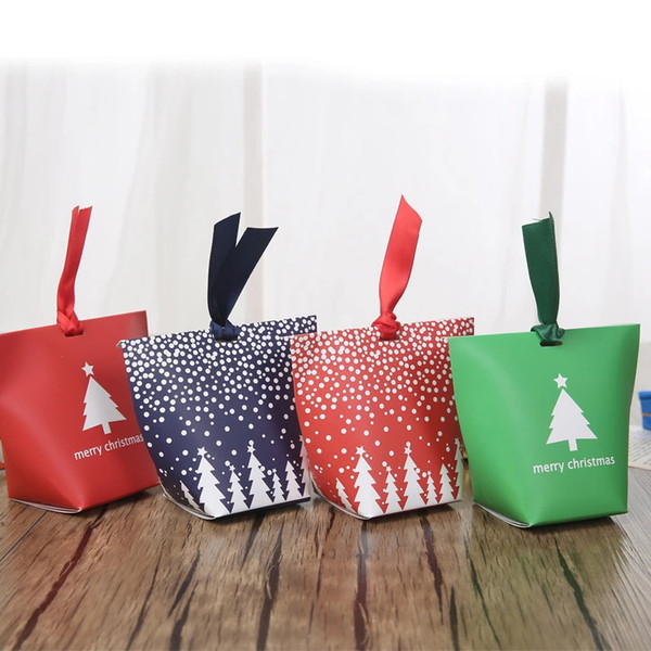 Christmas Gift Bags Diy.Candy Box Without Ribbon Diy Christmas Gift Bags Without Rope Handle Christmas Tree Pattern Candy Apple Paper Box Co Shipping Boxes For Sale Packing