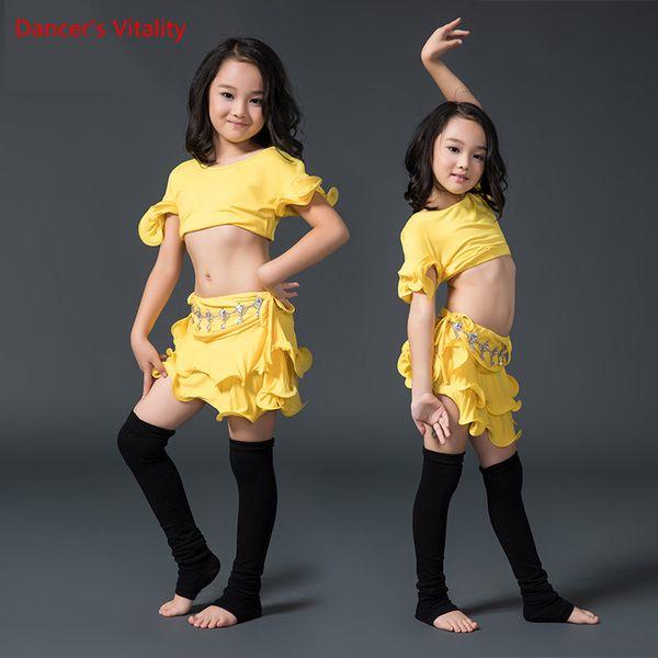 2017new прибытие конкурс Девушка танец живота топ + юбка 2 шт. Сексуальная танцовщица практика костюм платье белый желтый Бесплатная доставка