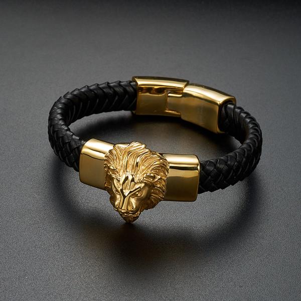 Punk Cool Men Bracelet Bracelet Gold Lion Head Woven Trenzado Wild Animal Vintage Joyería de acero inoxidable Pulseras para hombre