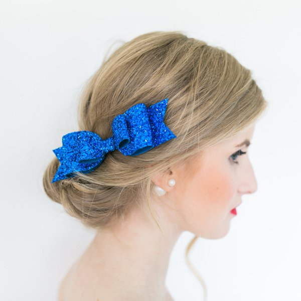 """Women Girls Boutique Glitter Hair Bow with Clip 16colors 4.5"""" bow clips Womens Satin Big Bow Hair Clip Barrette Accessory"""