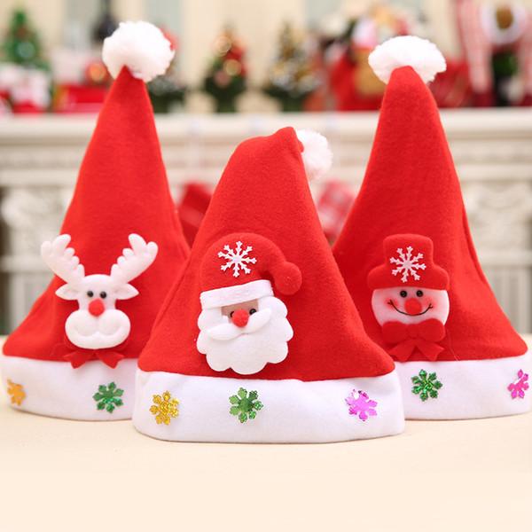 Светодиодные Рождество Hat Санта-Клаус шляпа Снеговик Медведь Олень Cap Luminous украшение Xmas Фестиваль Партия питание Бесплатная доставка