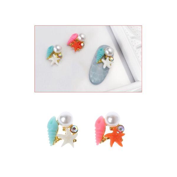 10Pcs/Set 3D Nail Art Pearl Sea Stars Shell Rhinestone Flat Glass ShapesAlloy DIY Glitter Accessories