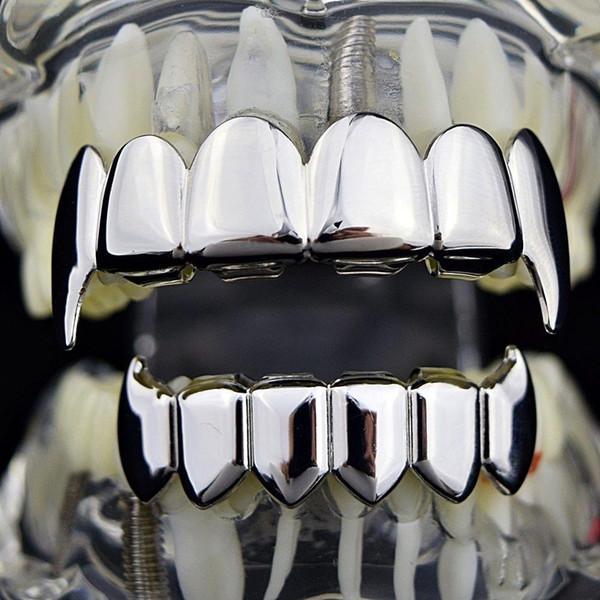 Men Women Hiphop Gold Teeth Grillz Top & Bottom Tooth Grillz Dental Halloween Cosplay Vampire Teeth Caps Party Jewelry #HOP17