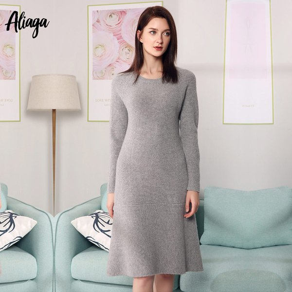 0c420da8884 Casual Knitted Sweater Dress For Women Winter Female Long Sleeve Dresses 100%  Pure Cashmere Dress