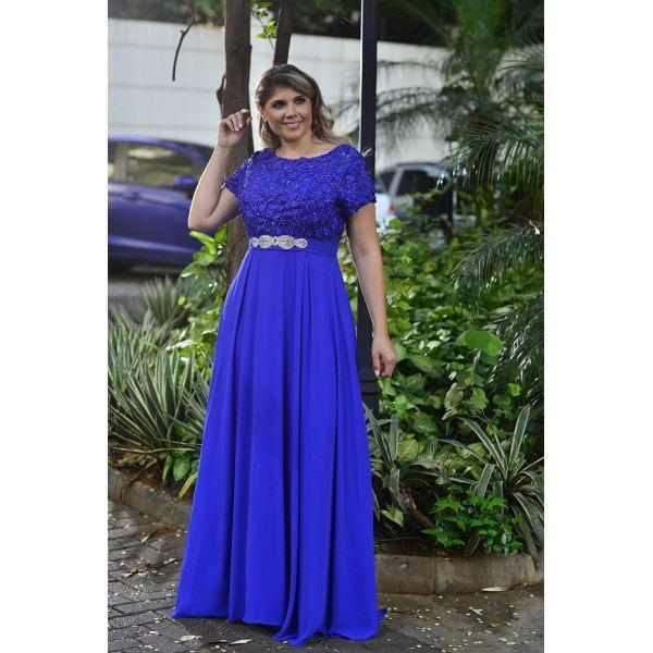 Royal Blue Plus Size Dress with Short Sleeves Bead Sash Floor Length Lace Mother of the Bride Dress for Wedding Vestidos De Noivas