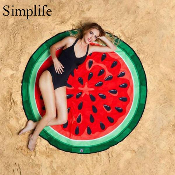 Simplife Ronda Creativa Mar Manta de Playa Toalla de Mantón de Fruta Sandía Patrón Impreso Tapicería Estera de Yoga Decoración para el hogar