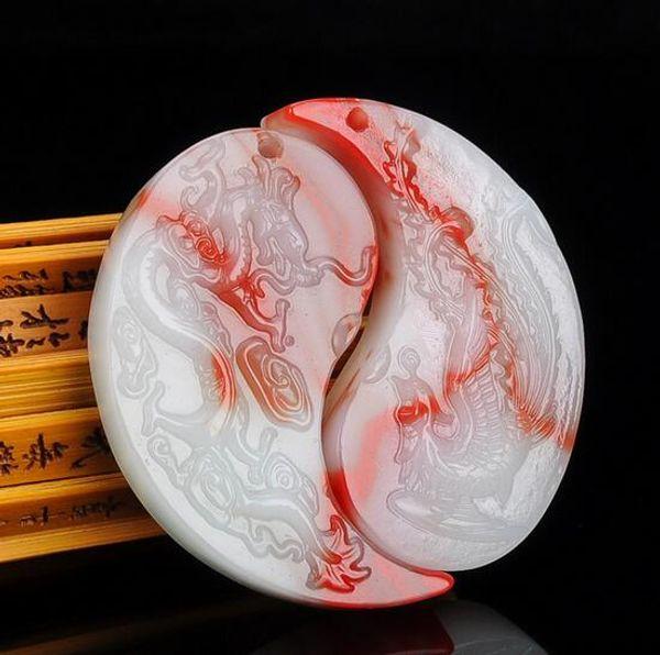 Chicken blood jade dragon and Phoenix pendant men and women models gold silk jade floating flower dragon and phoenix Chengxiang pendant neck