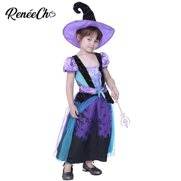 a37db523288d Reneecho Purple Magic Witch Costume Girls Halloween Costume for Kids  Carnival Party Fancy Dress Witch Hat