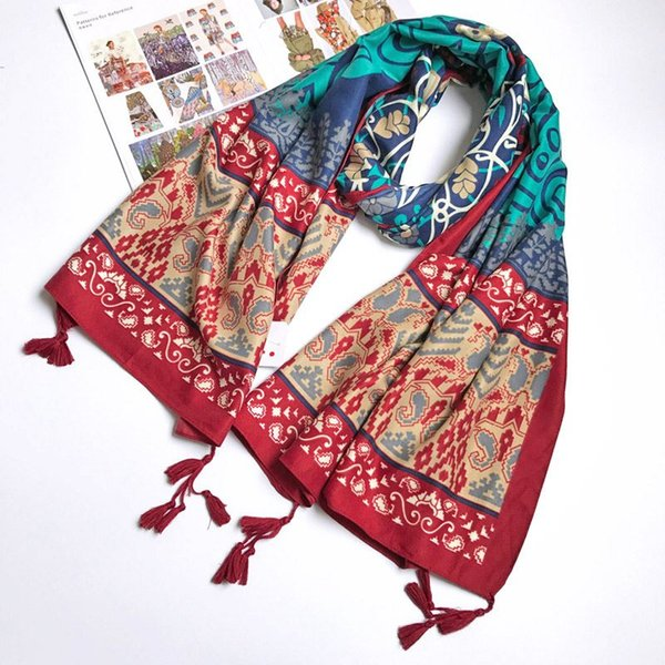 Women Cotton Scarf Ethnic Totem Vintage Long Shawl Large size Twill Tassel Stole Neckerchief Brand New [1838]