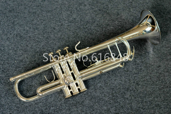 Free Shipping Brand Instrument TR305S Bb Trumpet High Quality Brass Tube Silver Plated Surface Instrument With Case Mouthpiece