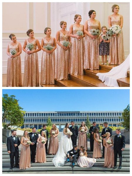 Rose Gold Bridesmaid Dresses A Line V Neck Cap Sleeve Floor Length Sequins Fabric Dress For Wedding Guest Maid Of Honor Gowns Formal Dress