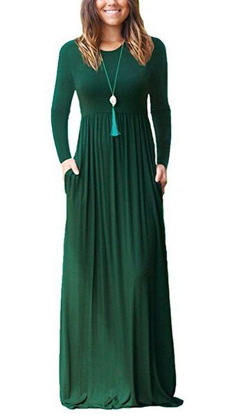 Abito vintage impero solido a maniche lunghe sciolto Autunno donne Maxi Dress Femme Casual O-collo tasca abiti lunghi Plus Size GV812