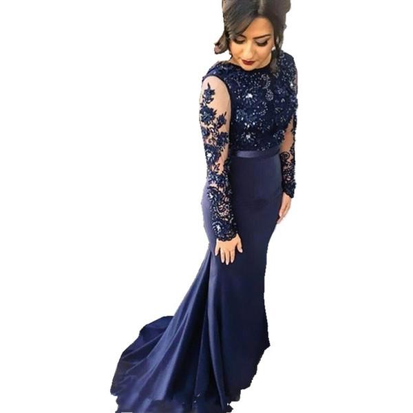 Compre Vestidos Azul Marino De Cuello Alto Sirena De Encaje Vestidos De Fiesta 2018 De Manga Larga Con Apliques Vestidos De Fiesta Vestidos De Noche