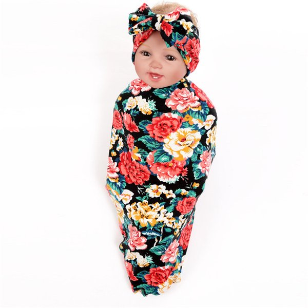 Newborn Infant Baby 2018 Swaddle Blanket Cotton Baby Sleeping Swaddle Muslin Wrap Headband Rose Floral Print Baby Christmas Gift
