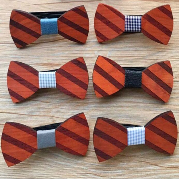 Med Wood Bowtie 7 style Handmade Vintage Traditional Bowknot neck tie finished product Wooden Bow tie 12*5cm bowties