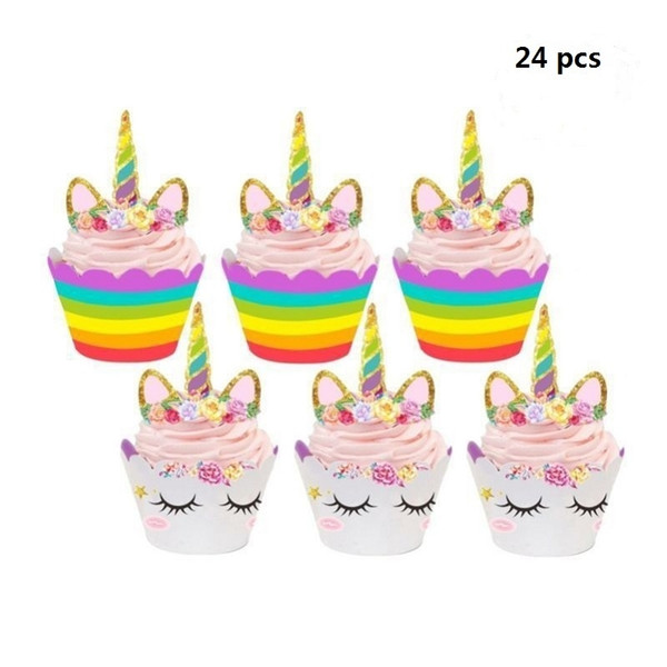 24 pcs Cute Birthday Decoration Unicorn (12pcs Cupcake Wrappers +12pcs Cake Topper) Party decoration for Baby Shower Party Cake Decor