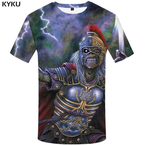 KYKU Iron Maiden T Shirt Men War Skull Tshirt Hip Hop Tee Lightning 3d T-shirt Anime Clothes Cool Mens Clothing 2018 Summer Top