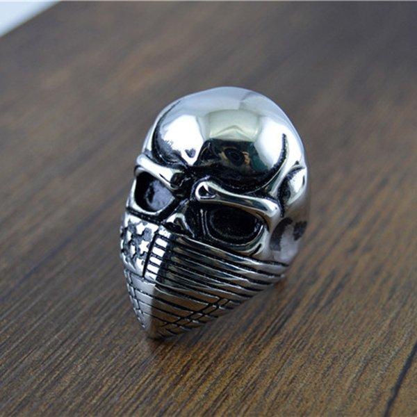Halloween Gift Jewelry Mask skull Rings 316L Stainless Steel Mens Biker Punk Hip-hop Style Party Silver Ring Men