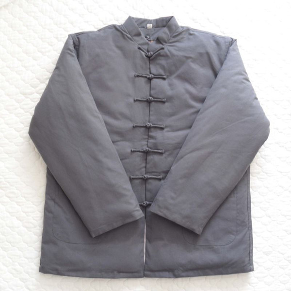 Gray Men's Cotton Linen Thick Coat Liner Detachable Chinese Style Kung Fu Winter Jacket Warm Tang Clothing Size M-4XL