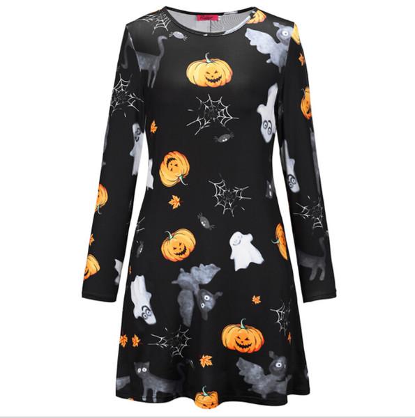 Women Clothes Skull Pumpkin Head Print Dresses Spring Autumn Long Sleeved Crew Neck Fashion Dresses Party Halloween Costume