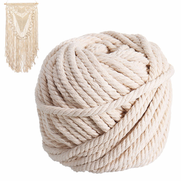 best selling New Natural Cotton Cord 6mm x 30m Macrame Rope Beige Twisted Cord Artisan Hand Craft for Handmade DIY Making Jewelry