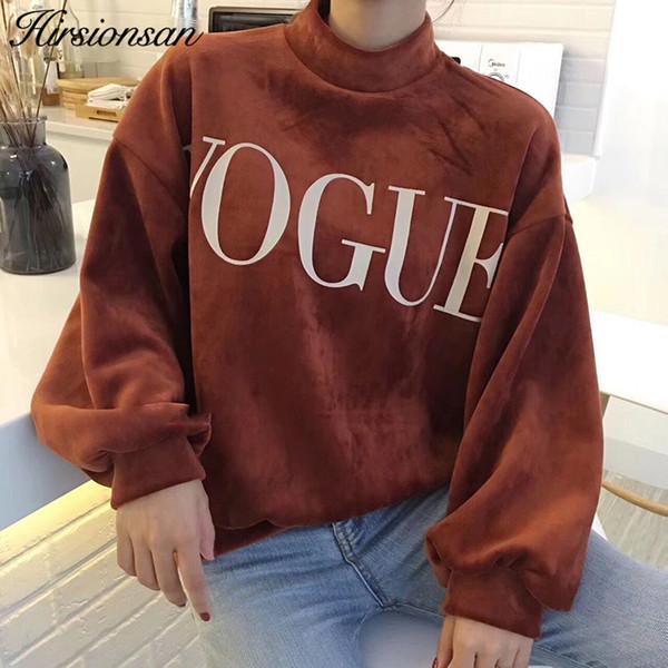 Hirsionsan Winter Hoodies Sweatshirt Women VOGUE Printed Fleece Velvet Hoodies Harajuku Velour Pullovers Ladies Casual Warm Tops