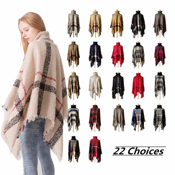 Fashion Women Knitted Plaid Shawl Scarves Pashmina Poncho Stripes Tassel Scarf Autumn Warm 22styles NNA732 50